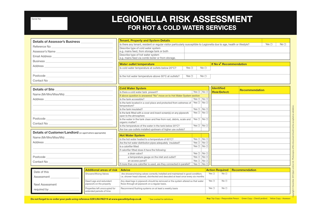 Gas safety shop legionella risk assessment for Property risk assessment template