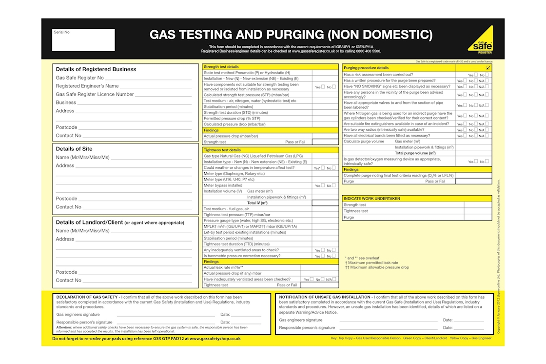 Gas Safety Shop Gas Safe Gas Testing And Purging Non Domestic