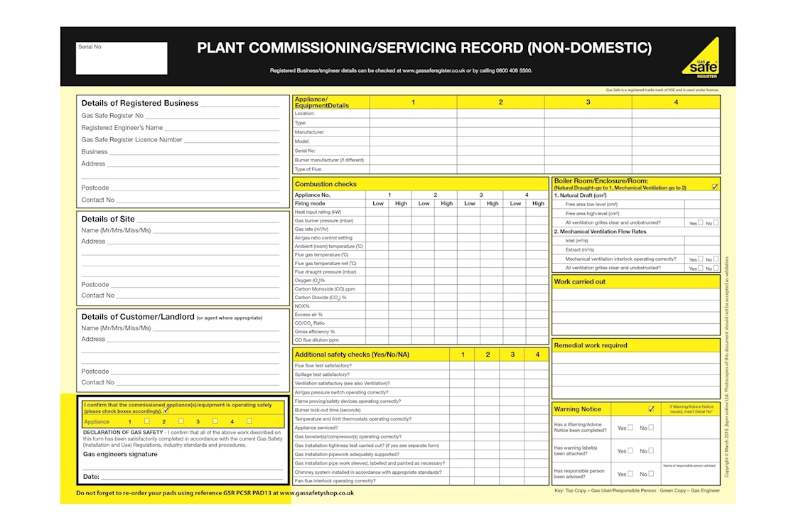 Gas Safety Shop: Gas-Safe-Plant-Commissioning-Servicing-Record-Non ...